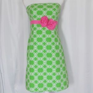 Lilly Pulitzer Strapless Dress Size 2 Flower Band